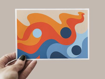 Postcard Abstract Shapes art circle postcard palette color palette orange blue color shapes vector flow waves wave abstract line geometric lines illustration