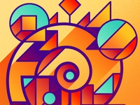A Spiral Line with Geometric Shapes #01904D