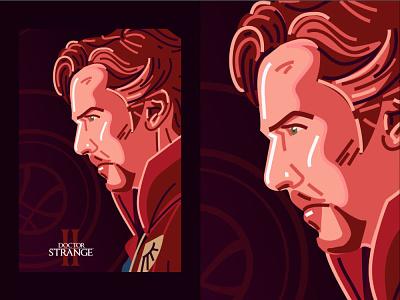 Doctor Strange 2 #01920 sherlock benedict cumberbatch movie poster movie avengers vector line lines face illustration marvel doctor strange