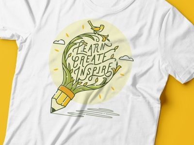 Learn, Create, Inspire T-Shirt type cool clever illustration inspire create learn lettering typography calligraphy lineart line lines bulb pencil plant shirt tshirt