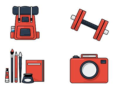 Hobbies web design promotion graphic design branding icons