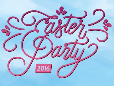 Easter Party Title title poster lettering