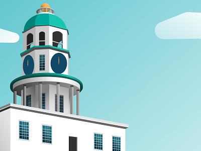 Clock Tower on Citadel Hill digital illustrator design vector illustration