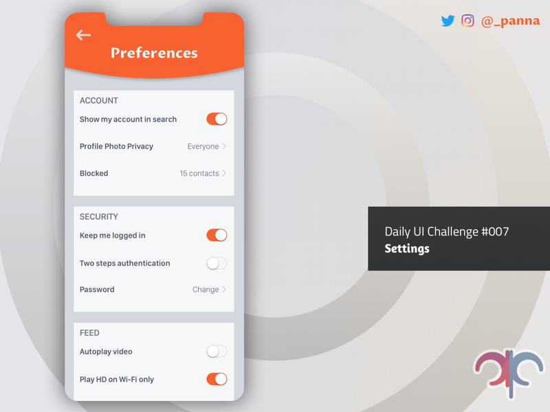 Daily Ui Challenge #007: Settings mobile app dailyui challenge