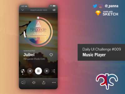 Daily Ui Challenge #009: Music Player daily ui 009 daily ui challenge 009 daily ui challenge dailyui design app ui challenge