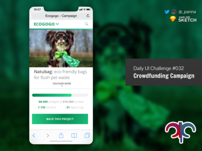 Daily Ui Challenge #032: Crowdfunding Campaign daily ui challenge mobile firat mobile web design web design ui design daily ui