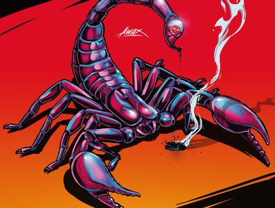 Scorpion awax wallpaper red photoshop art illustrator illustration digital painting drawing awax design