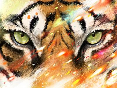 GLANCE colorful procreate art art illustration art procreate glance tiger eyes photoshop digital painting drawing awax design