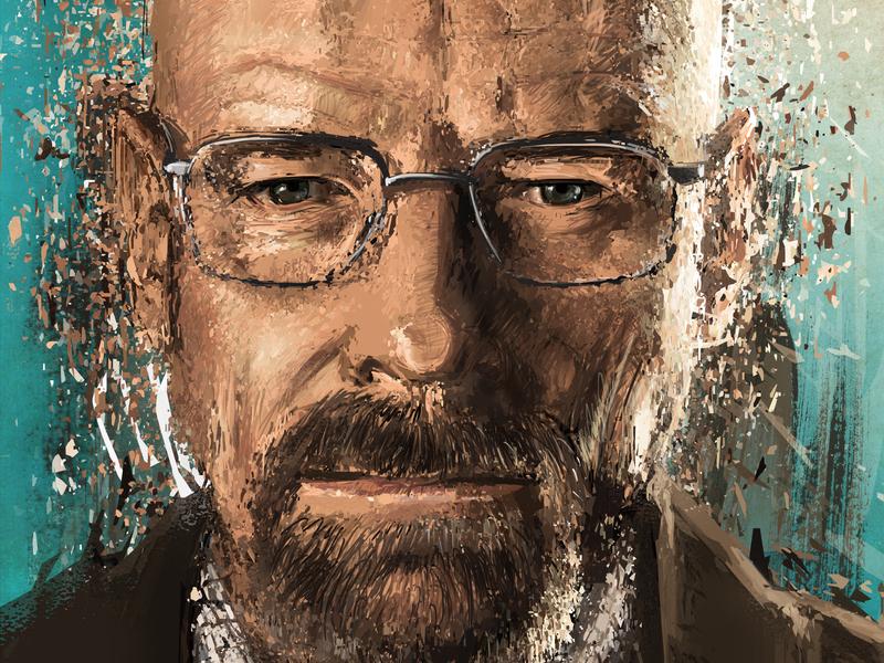 Crystal Meth teacher ganster bryan cranston ww heisenberg walterwhite crystal meth breaking bad awax design drawing digital painting art
