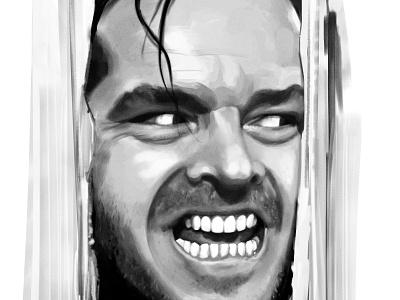 Here's Johnny movie art black and white illustration drawing photoshop corel painter digital painting awax design stanley kubrick crazy madness jack nicholson shining