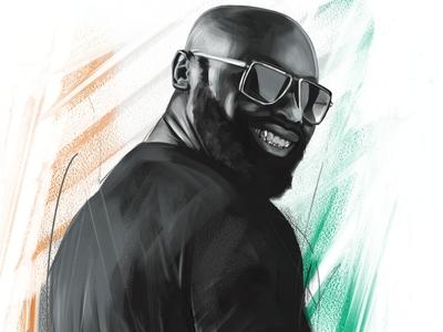Kaaris Terrain Smile ivory coast brush black and white smile illustration drawing digital painting awax design or noir hip hop street art street art trap rap french rapper kaaris