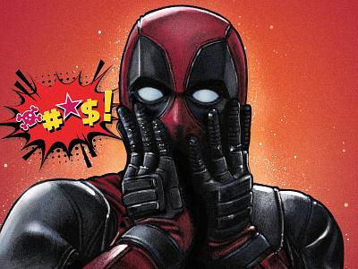 Deadpool photoshop illustration illustrator drawing digital painting vilain super hero awax design red colorful pop art comicsart comics marvel surprised surprise deadpool