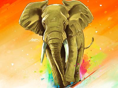 Elephant awax awax design sketch illustrator illustration drawing pachyderme digitalpainting colorful africa ivory ivorycoast elephant