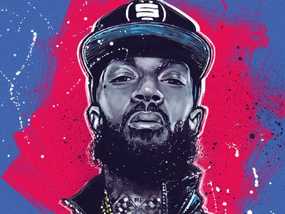Nipsey Hussle west coast icon portrait paint awax awax design victorylap gang eed bleu brush drawing ink digital painting drawing los angeles crenshaw culturehiphop hip hop rap nippes hussle