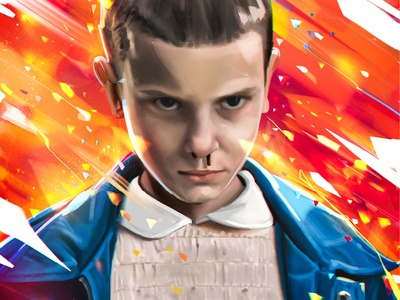 Eleven girl regard eyes look bleeding demogorgon color powerful power awax design digital painting fire red drawing sketch millie bobby brown eleven strangerthings