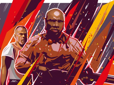 Marsellus  & Butch ving rhames bruce willis red wallpaper poster photoshop illustrator vector vexelart drawing medieval angry butch marsellus wallace classic movie quentin tarantino pulp fiction