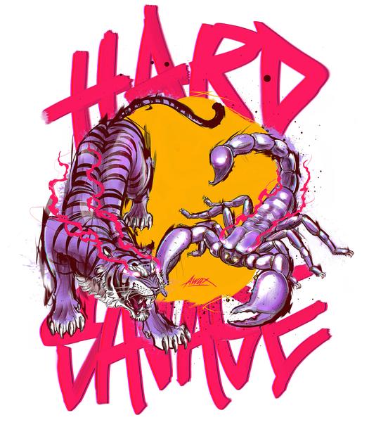 Hard & Savage sketch illustration purple pink wild fierce hard drawing digital painting scorpion scorpio tigre tiger awax design