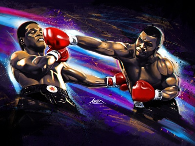 Epic Battle powerful power angry punchout knockout iron mike boxe anglaise trevor berbick mike tyson champion heavy weight boxe art portrait illustrator digital painting illustration awax design