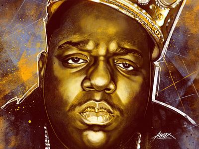 Notorious awax design big poppa junior mafia biggie smalls portrait illustrator drawing new york notorious big brooklyn gangsta rap rap east coast legend icon