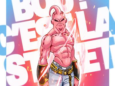 Bouh ! C'est la Street (urban Majin Buu) colorful puma off white jordan trademark pink urban art illustrator illustration awax design digitalart bou buu dragon ball z