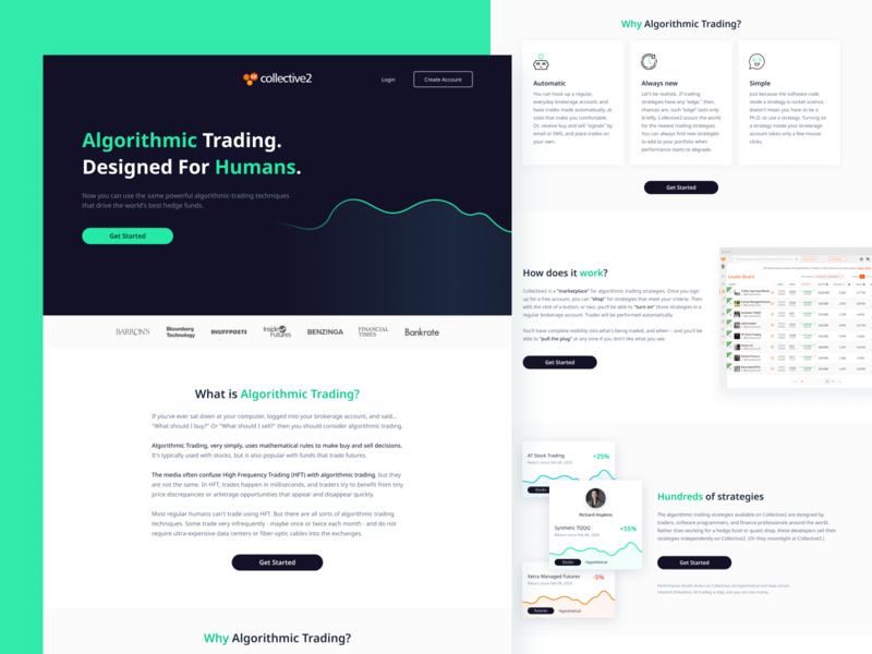 Algorithmic Trading web design mobile web design typography color ux ui trading algorithm clean design branding design branding