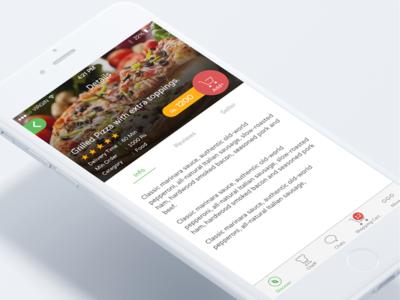 Foodicize - Food Detail Screen cart shopping mockup iphone ios food