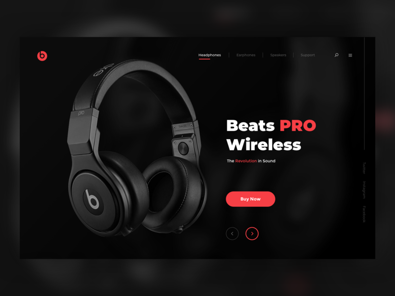 Headphone Landing Page Concept color ux ui apple design red black concept header beats apple