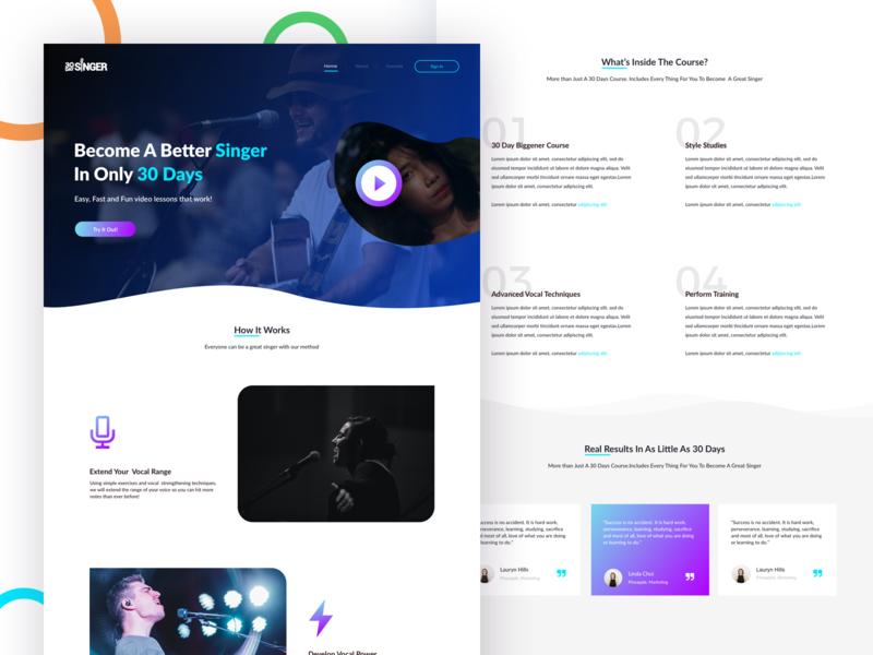 30DaySinger Landing Page design vector branding typography web admin icons blue purple web design web illustration mobile ux color ui