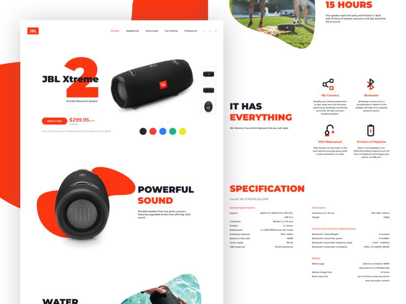 JBL Xtreme 2 - Concept Design design vector illustration web typography color graphic design web design ux design ux ui