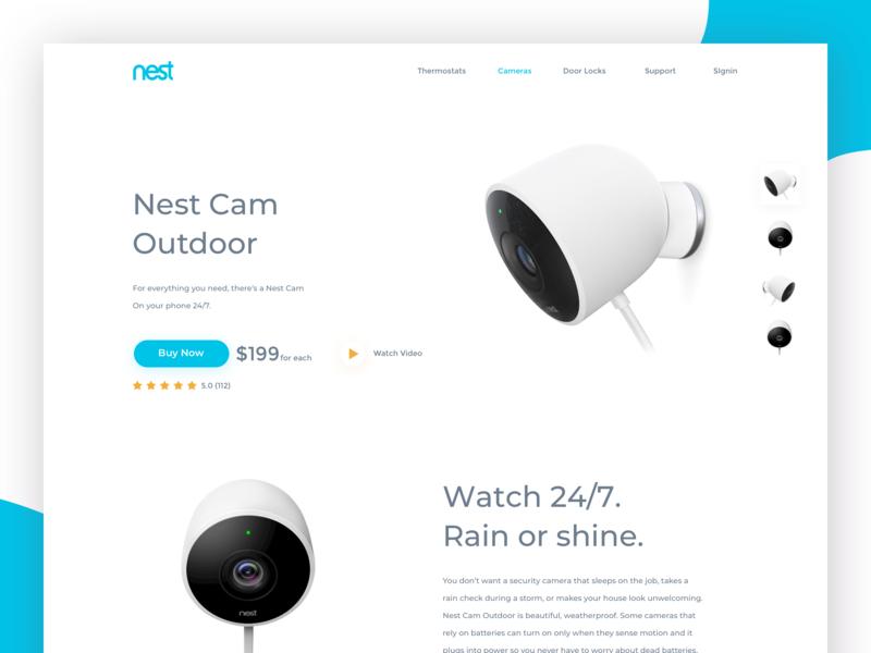 Nest Cam Outdoor Landing Page website icon logo branding web design design typography ux ui