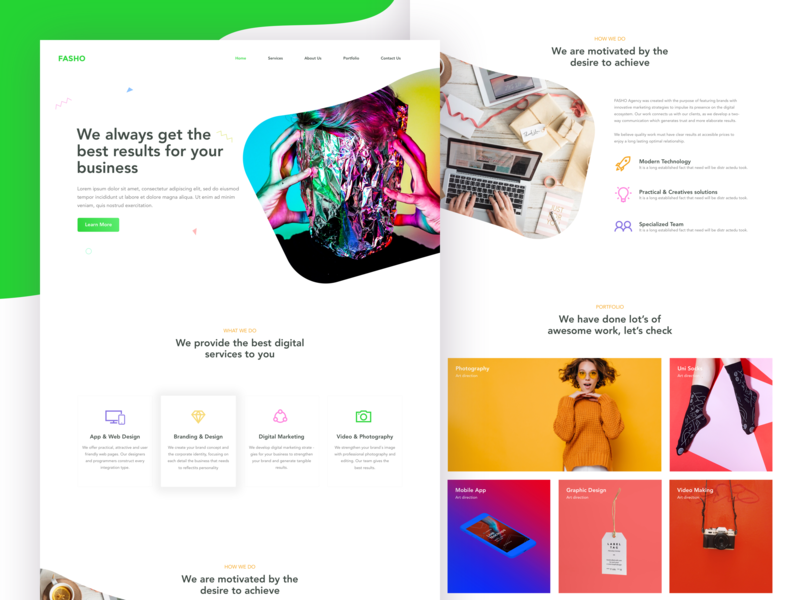 Fasho - Creative Agency Design website mobile vector app icon color design web web design typography digital ux ui