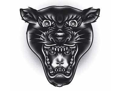 Panther blackwork traditional panther tattoo graphic vector art drawing illustration design