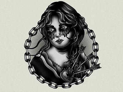 Portrait blackwork traditional portrait tattoo graphic vector art drawing illustration design