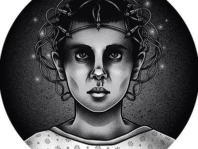 Eleven stranger things portrait blackwork traditional strangerthings tattoo graphic vector art drawing illustration design