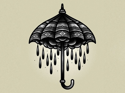 It never rains, it pours vector traditional tattoo illustration graphic drawing design blackwork art