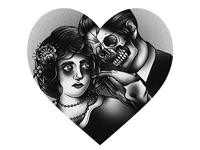 True Love vector traditional tattoo illustration graphic drawing design blackwork art