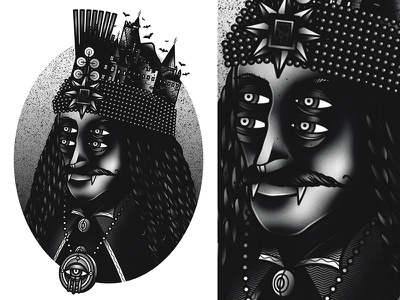 Vlad the impaler vector traditional tattoo vampire panther illustration graphic drawing design blackwork art