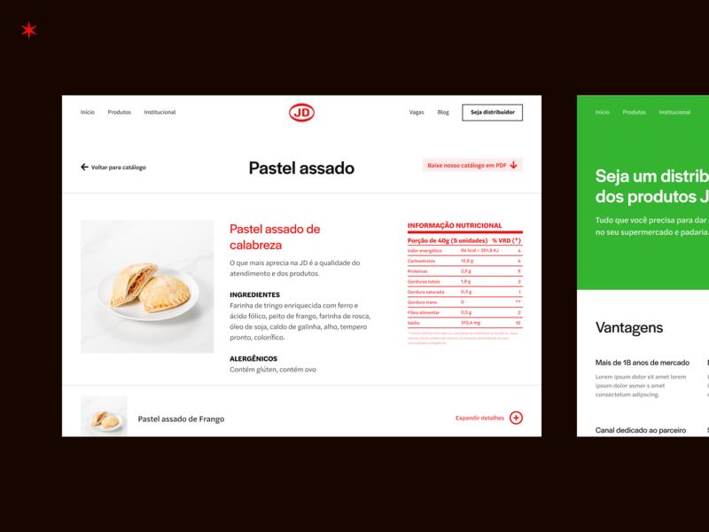 JD Alimentos detalhamento do catálago digital red nutritional table tabela nutricional website ui ux