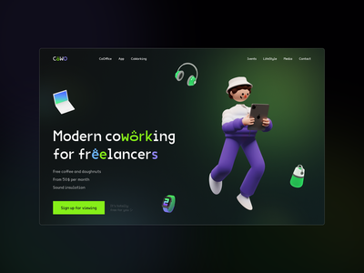 CoWO – coworking concept design branding website webdesign lending typography web clean ui minimal design