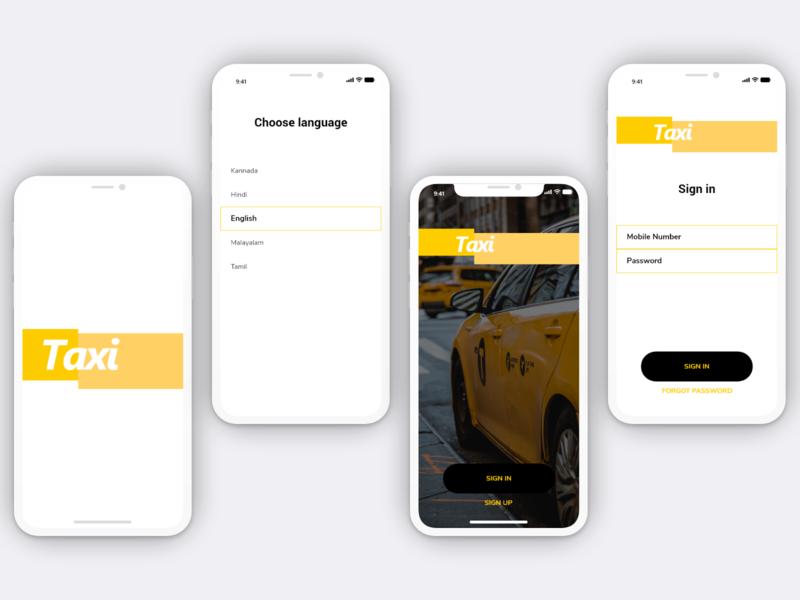 Taxi - App mobile adobe xd design taxi driver choose language screen choose language screen splashscreen taxi sign in taxi login taxi booking app taxi app taxi