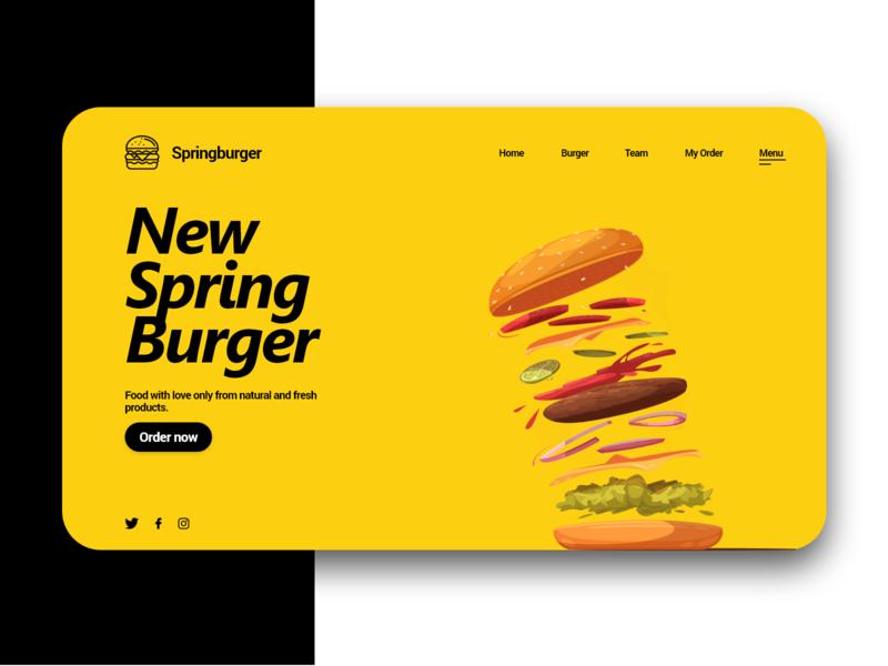 Spring Burger - Concept webdesigner spring burger burger yellow ordering orders concept design concept website webdesig web