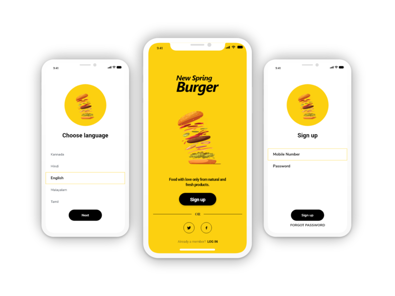 Spring Burger - Concept App login signup language splashscreen mobile screens design app concept concept design concept app design application app