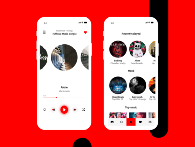Simple Music Player application ux ui mobile adobe xd player likes colors red and black black red dark musician music music art music album music app app