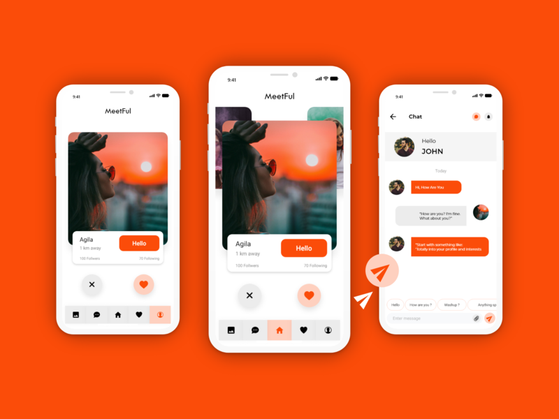 Dating app - MeetFul adobe xd adobexd adobe design chat screen chat box chatting chat profile design profile page profile home page homescreen home like date dating design dating name datingapp dating