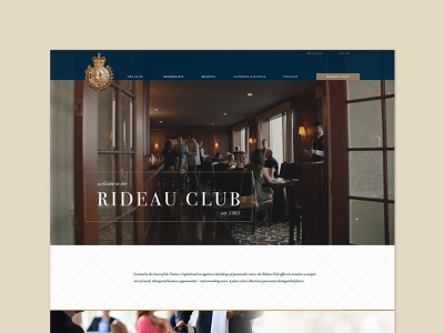 Rideau Club | web design dark blue website web design ui design bodoni elegant website club website blue and gold website blue and white website ui