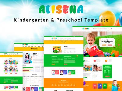 Alisena Dribbble science play school kindergarten kinder garden kids school kids institute education creative colorful website children care baby art academy responsive design