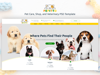 Pepitto - Pet Care, Shop, and Veterinary PSD Template animal services animal cats dog pet shop vet responsive theme forest design creative