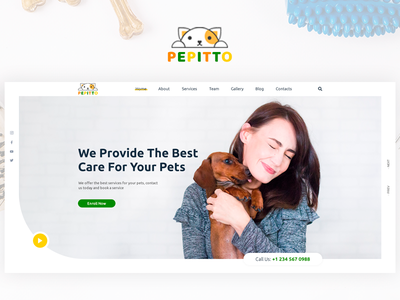 Pepitto - Pet Care, Shop, and Veterinary Template pet shop veterinary pet adoption pet design pet care pet