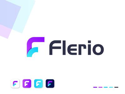 flerio logo design software company business simple minimal f logo design f letter f logo branding design gradient app logo designer logo design brand identity technology logo mark branding modern f letter logo f