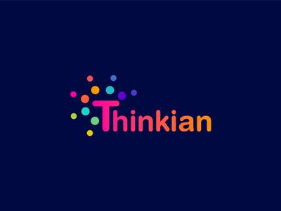Thinkian logo design creative business gradient logo design brand identity logo mark branding funny kids thinker thinking bright color colorful brightness idea think
